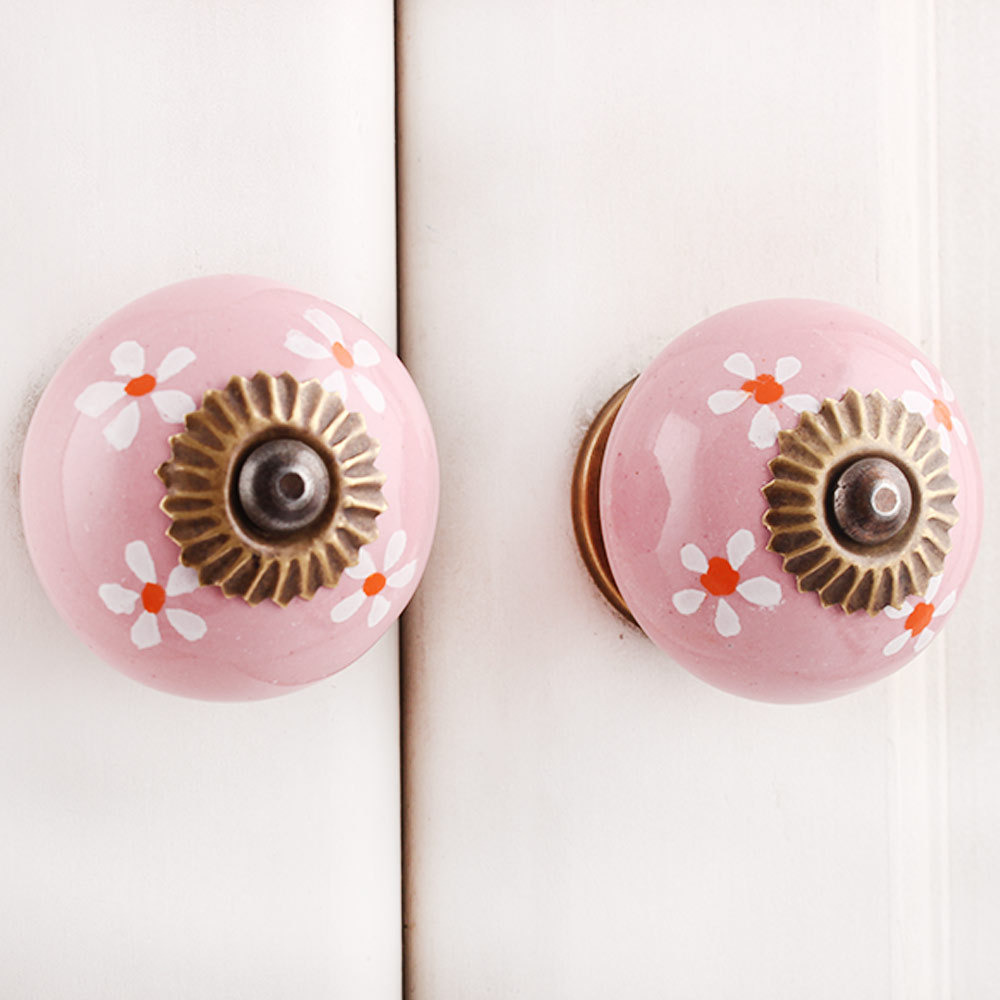 IndianShelf Handmade 13 Piece Ceramic Pink Flower Antique Look Drawer Room Knobs/Dresser Door Pulls