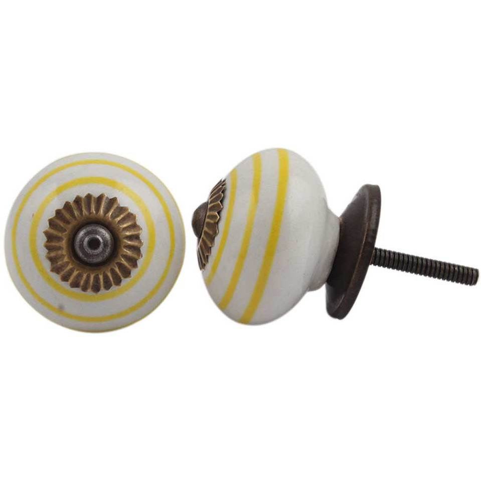 IndianShelf Handmade 13 Piece Ceramic White Stripe Antique Look Drawer Room Knobs/Dresser Door Pulls