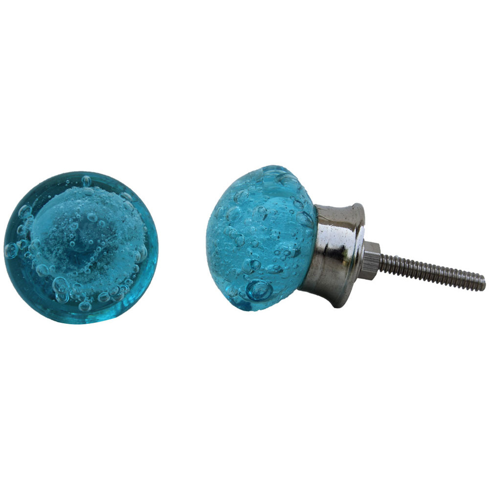 IndianShelf Handmade 13 Piece Glass Turquoise Bubble Rust Free Drawer Kitchen Knobs/Cabinet Pulls