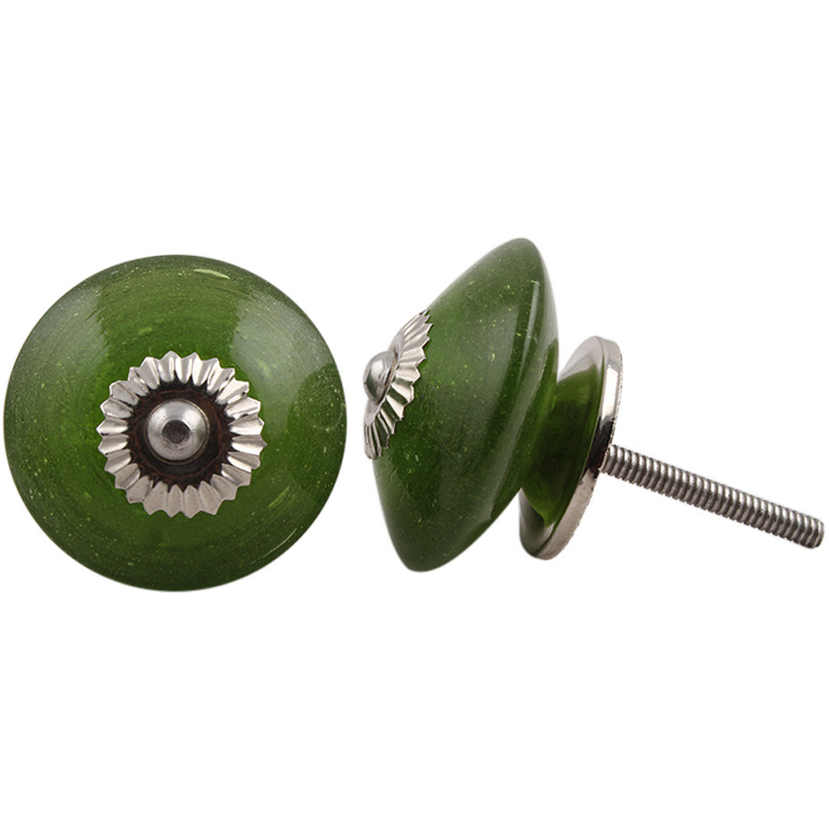 IndianShelf Handmade 13 Piece Glass Olive Wheel Antique Look Drawer Room Knobs/Dresser Door Pulls