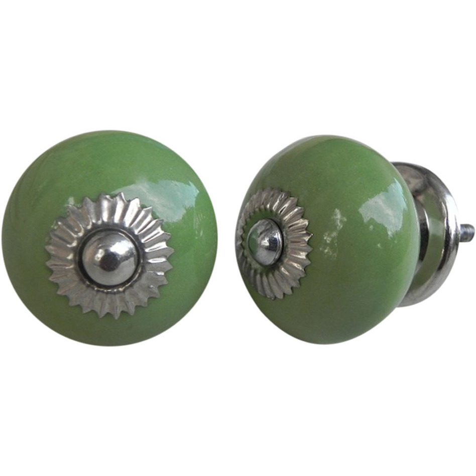 IndianShelf Handmade 13 Piece Ceramic Green Solid Rust Free Drawer Kitchen Knobs/Cabinet Pulls