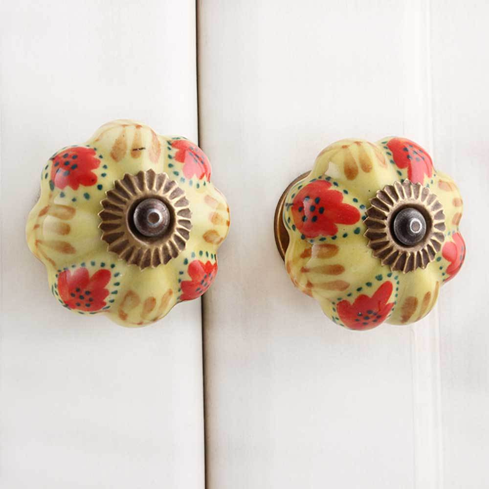IndianShelf Handmade 13 Piece Ceramic Red Melon Antique Look Drawer Room Knobs/Dresser Door Pulls