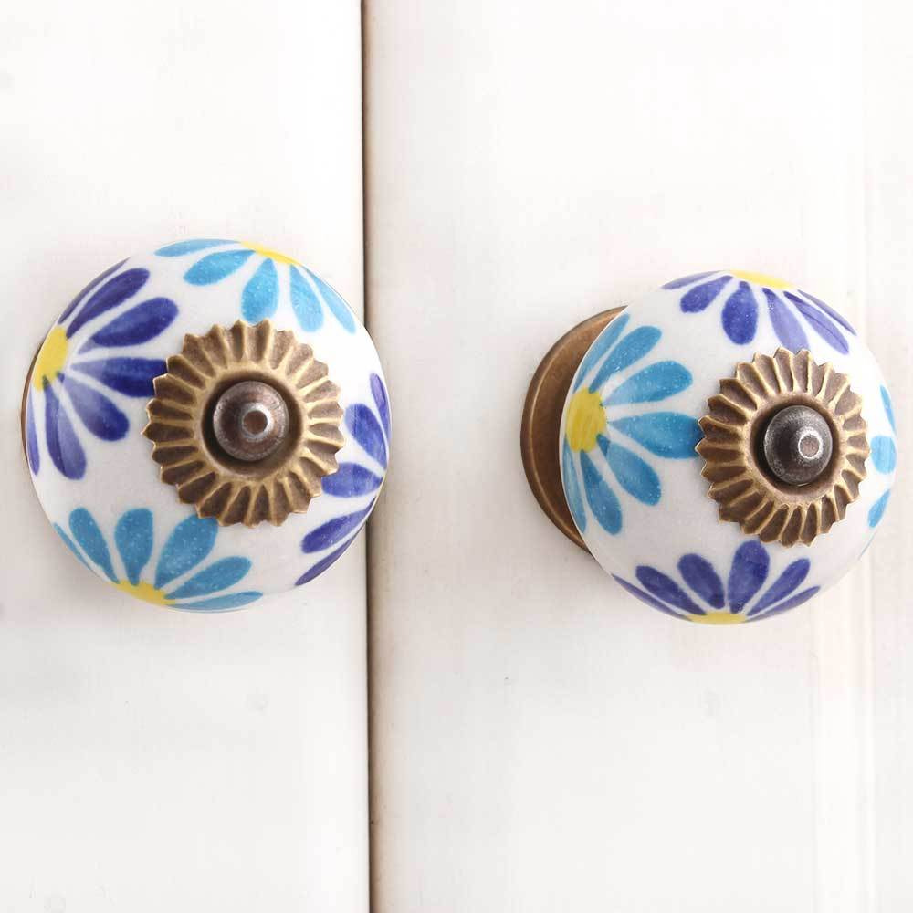 IndianShelf Handmade 13 Piece Ceramic Blue Angel Rust Free Drawer Kitchen Knobs/Cabinet Pulls