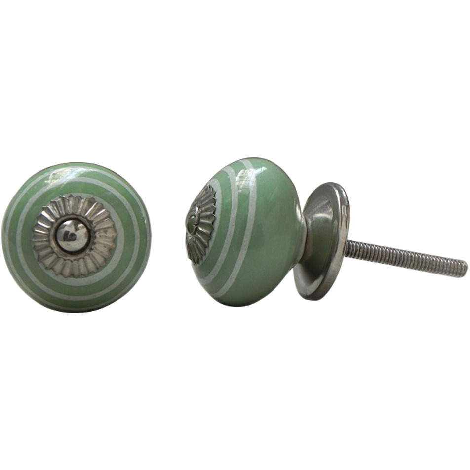 IndianShelf Handmade 13 Piece Ceramic Green Stripe Rust Free Drawer Kitchen Knobs/Cabinet Pulls