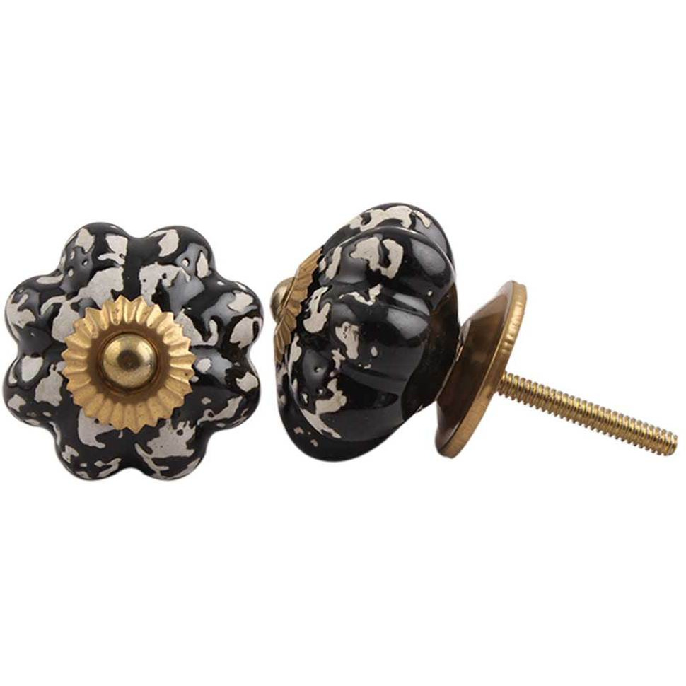 IndianShelf Handmade 15 Piece Ceramic Black Etched Melon Vintage Furniture Drawer Knobs/Wardrobe Door Pulls