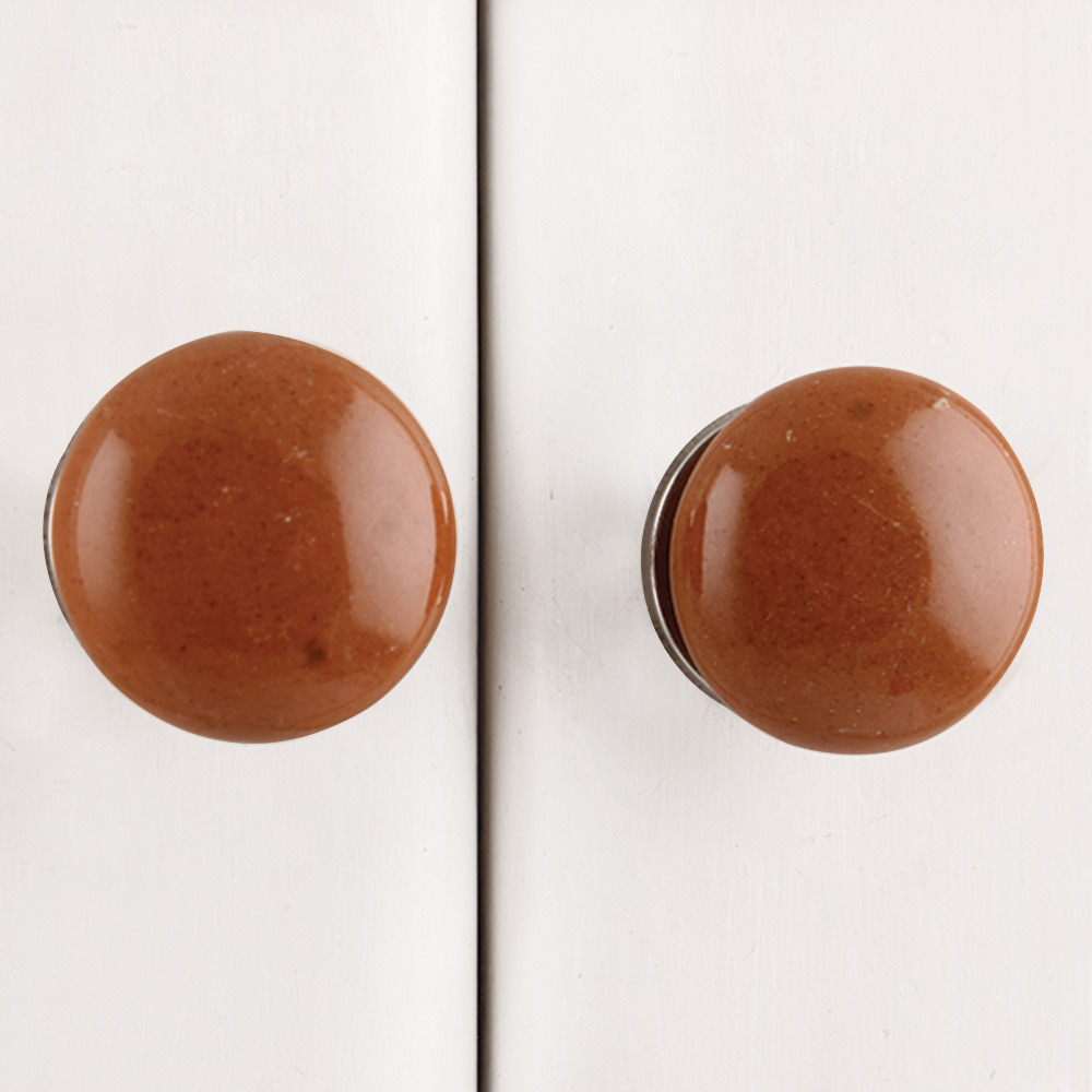 IndianShelf Handmade 15 Piece Ceramic Brown Flat Solid Designer Drawer Door Knobs/Cabinet Pulls