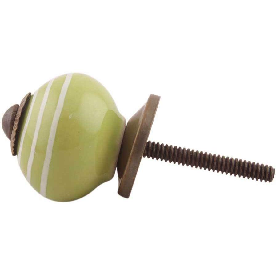 IndianShelf Handmade 17 Piece Ceramic Green Stripe Rust Free Drawer Kitchen Knobs/Cabinet Pulls