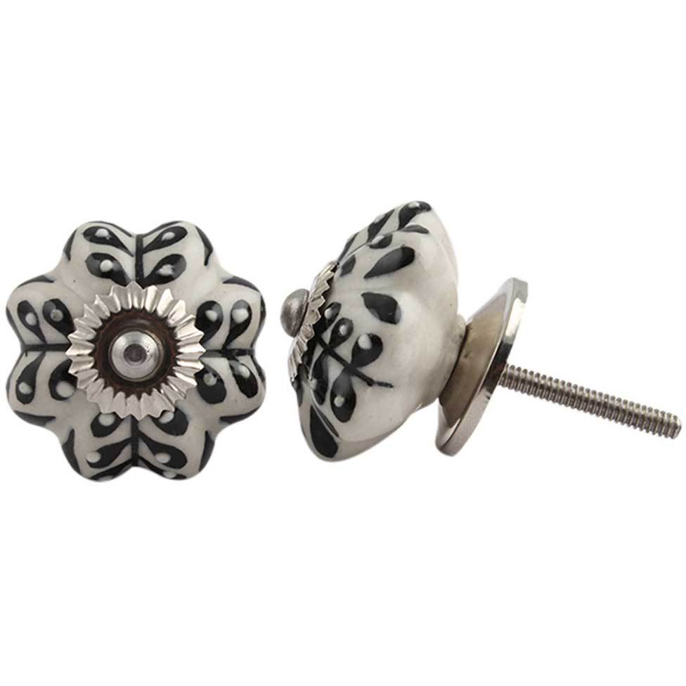 IndianShelf Handmade 17 Piece Ceramic Cream Leaf Melon Rust Free Drawer Kitchen Knobs/Cabinet Pulls