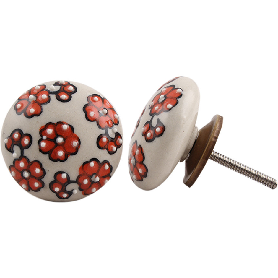IndianShelf Handmade 17 Piece Ceramic Multicolor Tiny Flower Rust Free Drawer Kitchen Knobs/Cabinet Pulls