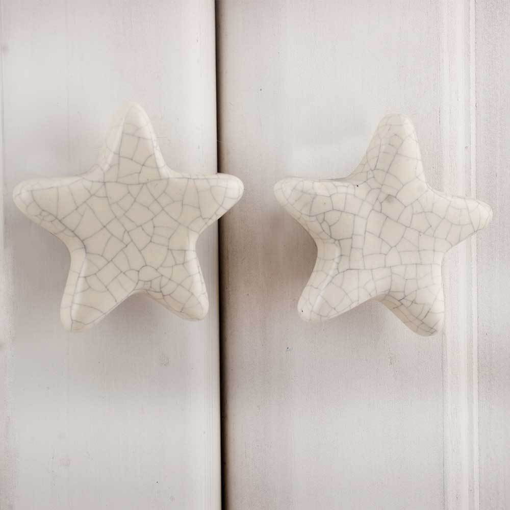 IndianShelf Handmade 17 Piece Ceramic Cream Star Crackle Kid Rust Free Drawer Kitchen Knobs/Cabinet Pulls
