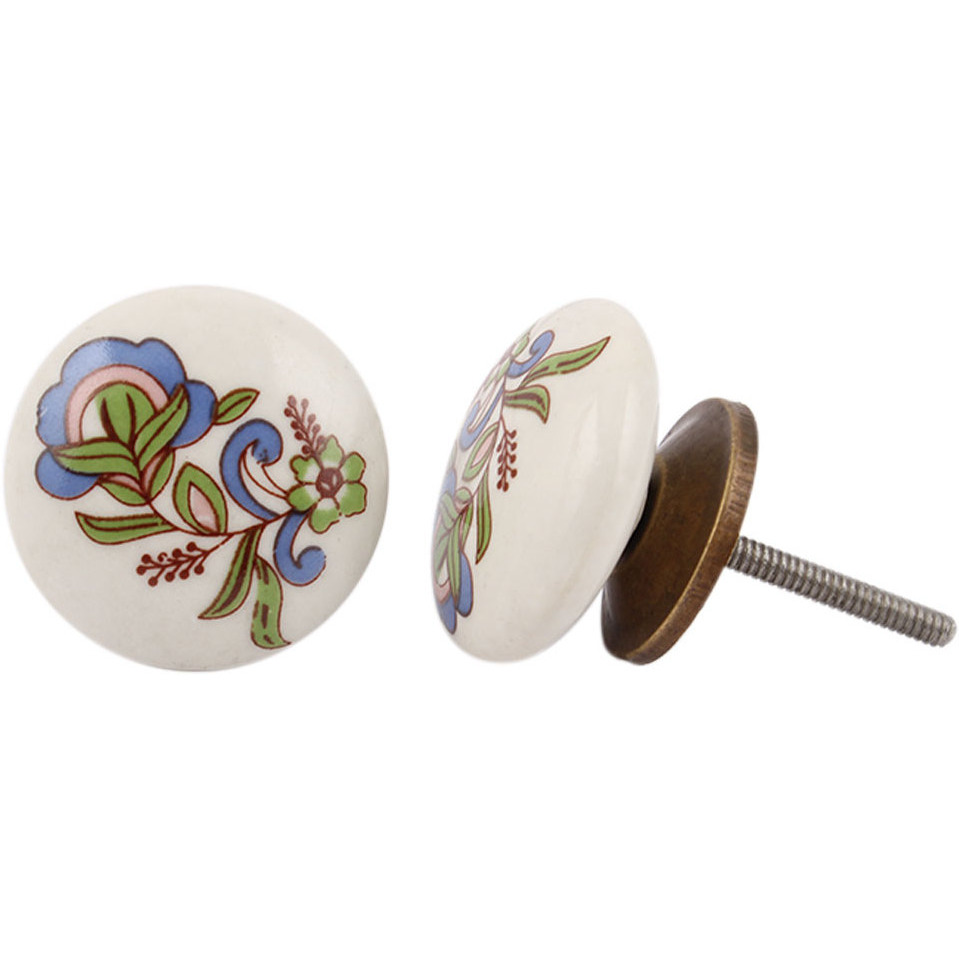 IndianShelf Handmade 17 Piece Ceramic Multicolor Flower Flat Rust Free Drawer Kitchen Knobs/Cabinet Pulls