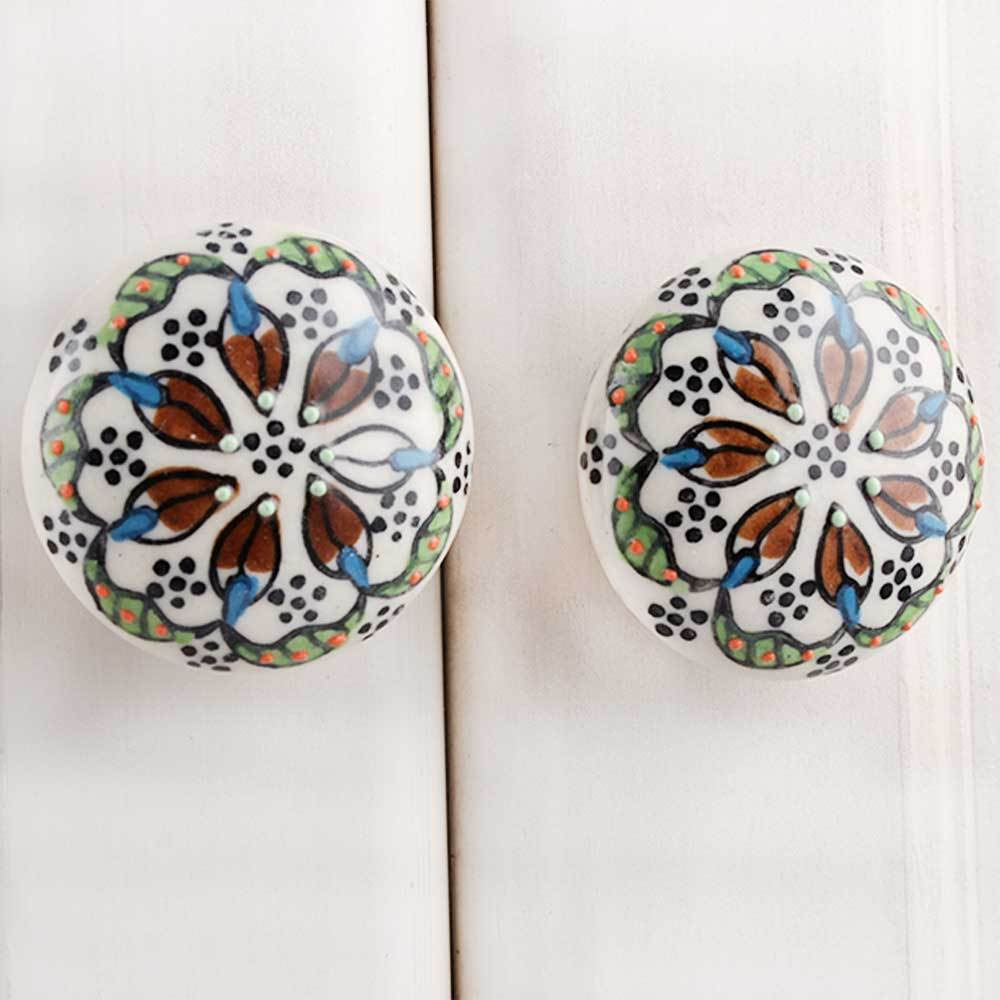 IndianShelf Handmade 17 Piece Ceramic Multicolor Floral Flat Rust Free Drawer Kitchen Knobs/Cabinet Pulls
