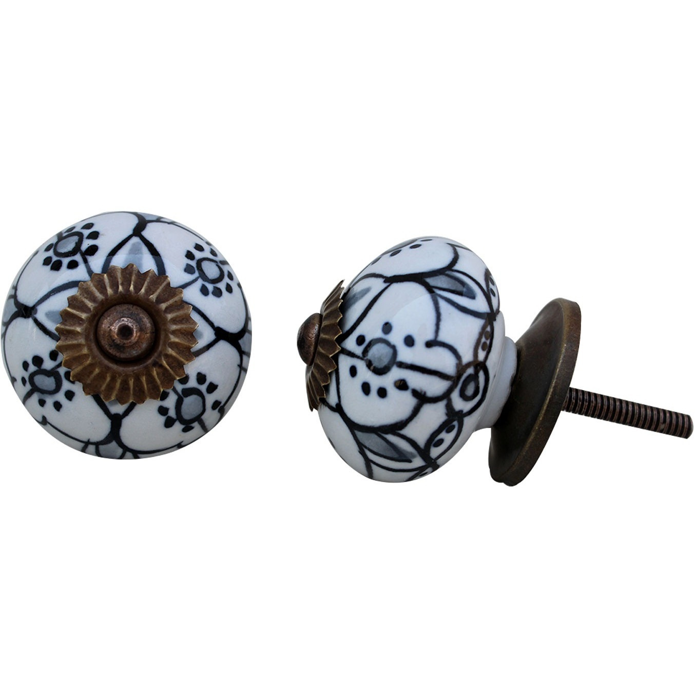 IndianShelf Handmade 17 Piece Ceramic Black Floral Rust Free Drawer Kitchen Knobs/Cabinet Pulls