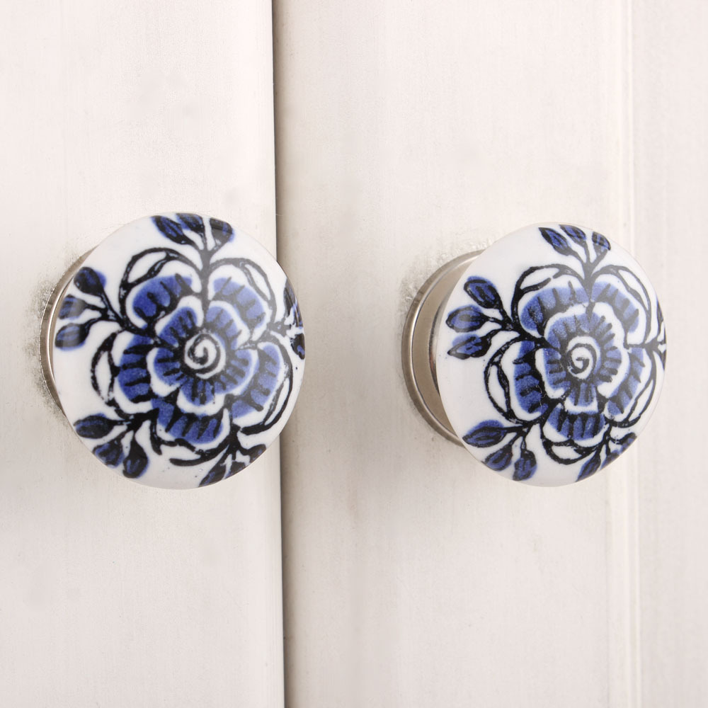 IndianShelf Handmade 17 Piece Ceramic Blue Rose Flat Rust Free Drawer Kitchen Knobs/Cabinet Pulls