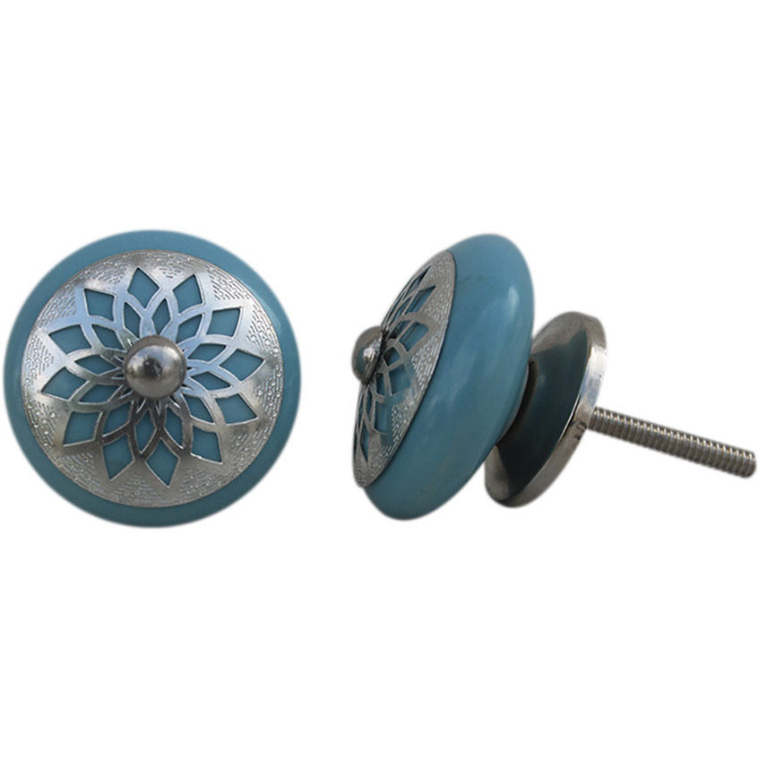 IndianShelf Handmade 17 Piece Ceramic Turquoise Strewn Flat Rust Free Drawer Kitchen Knobs/Cabinet Pulls