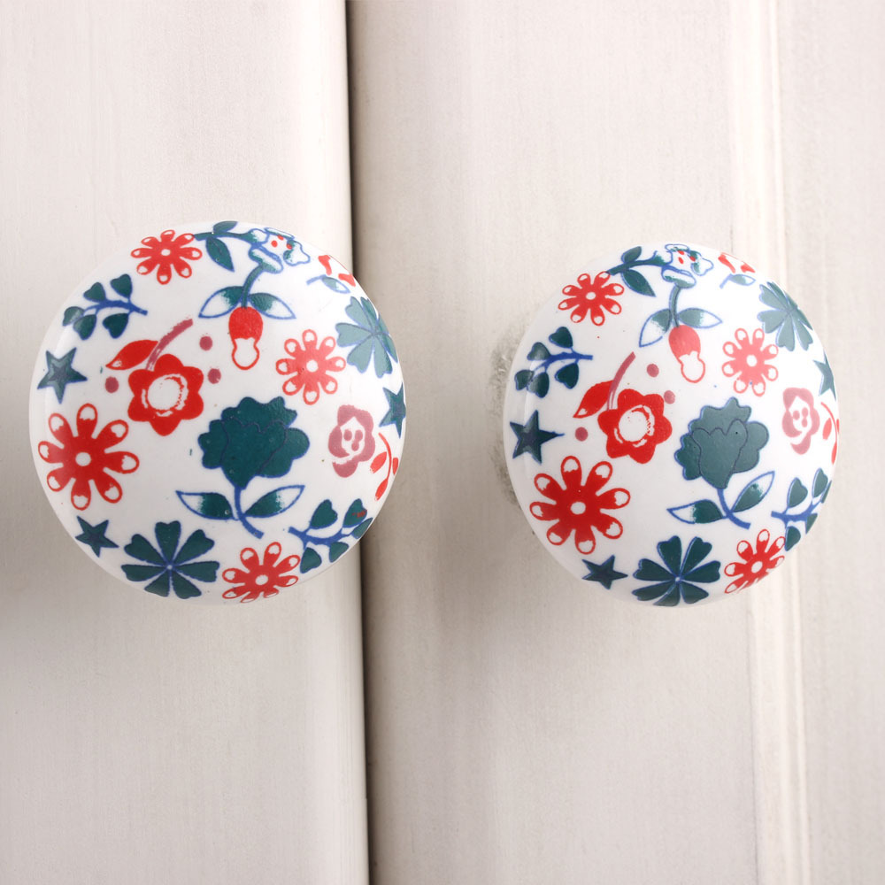 IndianShelf Handmade 17 Piece Ceramic Green Lily Flat Rust Free Drawer Kitchen Knobs/Cabinet Pulls