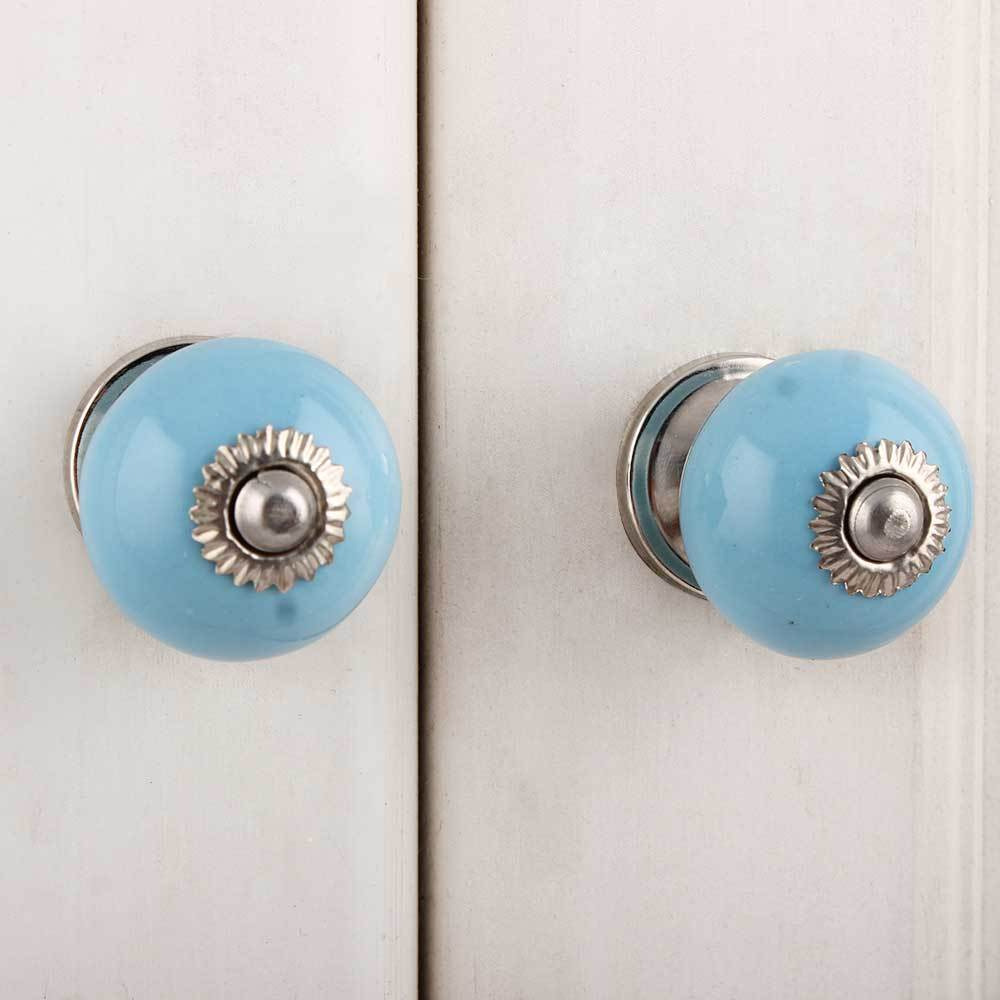 IndianShelf Handmade 17 Piece Ceramic Blue Solid Rust Free Drawer Kitchen Knobs/Cabinet Pulls