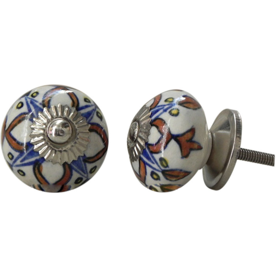 IndianShelf Handmade 17 Piece Ceramic Multicolor Necklace Rust Free Drawer Kitchen Knobs/Cabinet Pulls