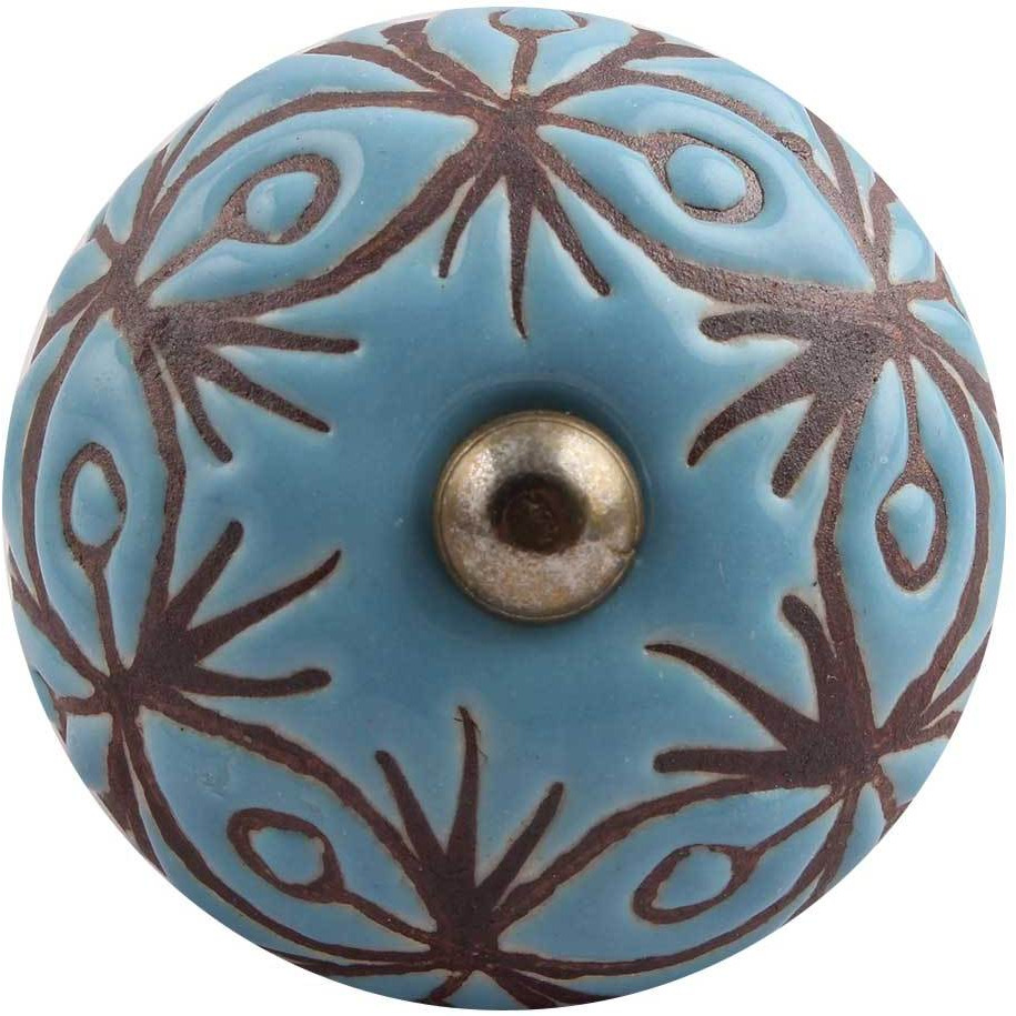 IndianShelf Handmade 19 Piece Ceramic Turquoise Etched Vintage Furniture Drawer Knobs/Wardrobe Door Pulls