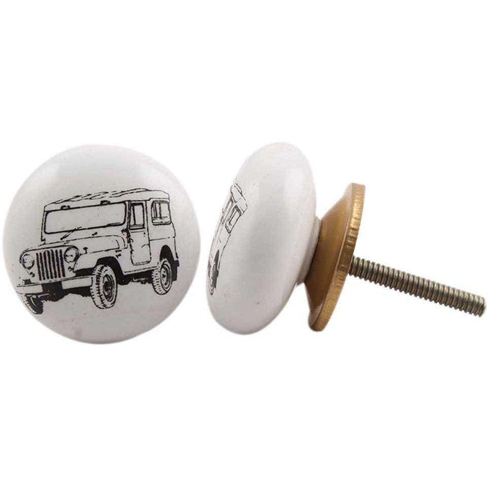 IndianShelf Handmade 19 Piece Ceramic White Jeep Flat Vehicle Vintage Furniture Drawer Knobs/Wardrobe Door Pulls