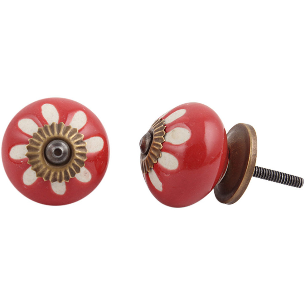 IndianShelf Handmade 21 Piece Ceramic Red Etched Rust Free Drawer Kitchen Knobs/Cabinet Pulls