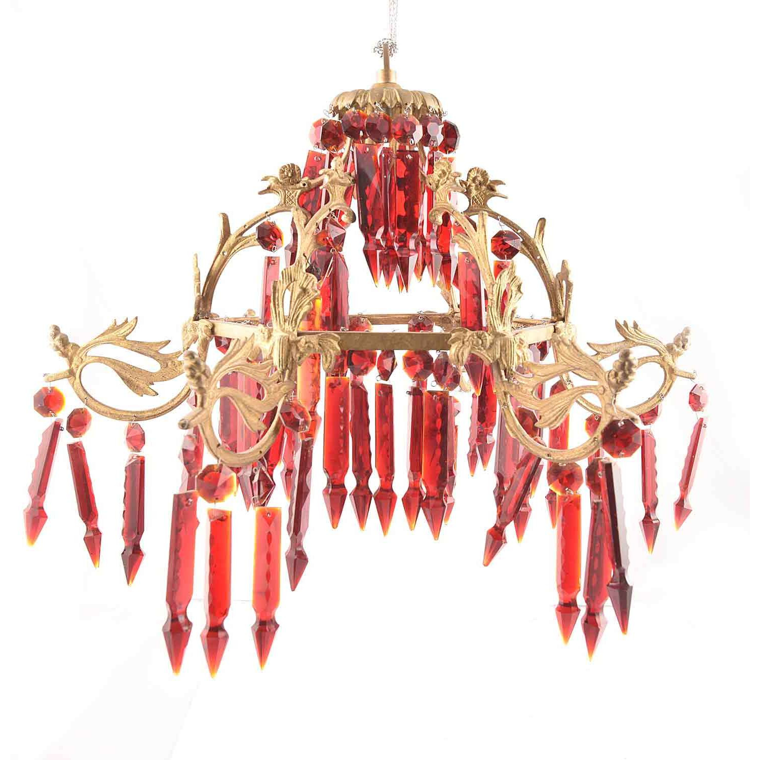 IndianShelf Handmade Decorative Red Glass Chandelier Celling Lamp Indian Online