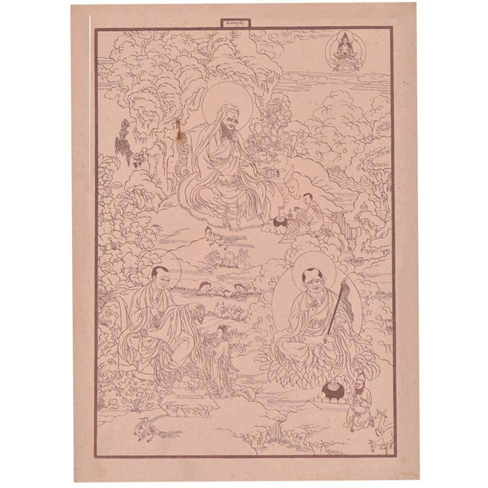 IndianShelf Handmade Paper Wise Man Buddha Preachings Print and Poster Prints/ Lithographs/ Wall Art PT-209