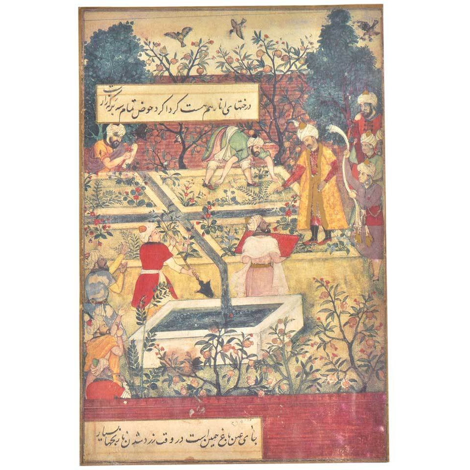 IndianShelf Handmade Paper Seasons in The Garden of Fidelity Mughal Prints/ Lithographs/ Wall Art PT-160