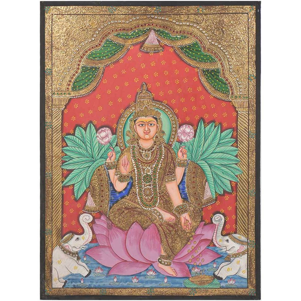 IndianShelf Handmade Lotus Lakshmi Tanjore Paintings with Frame PT-149