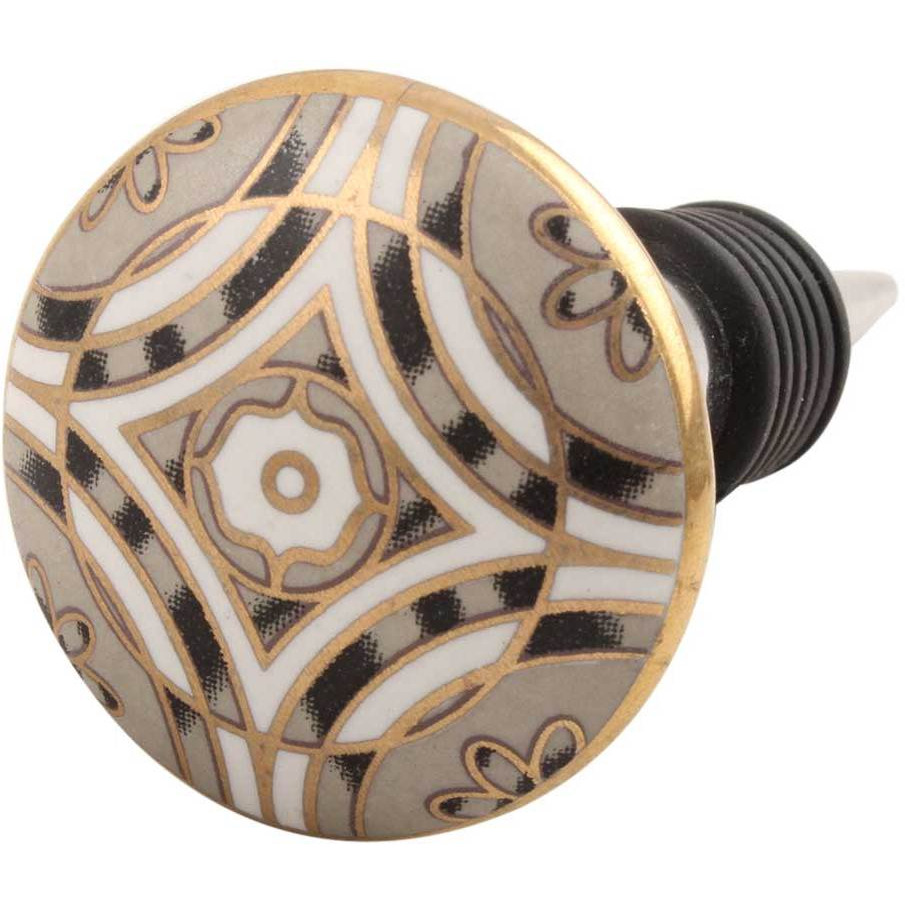 IndianShelf Handmade 3 Pieces Golden Ceramic Floral Wine Bottle Stopper Sealer Cover Rubber Metal Cap Indian Online