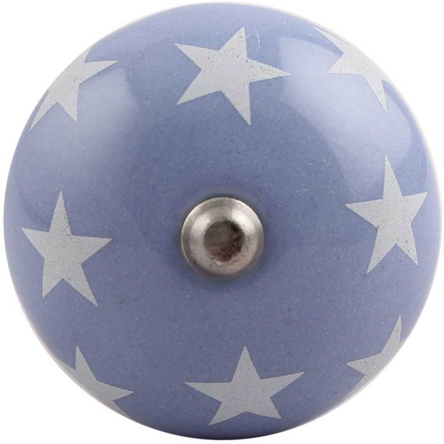 IndianShelf Handmade 1 Pieces Slate Blue Star Ceramic Wine Bottle Stopper Sealer Cover Rubber Metal Cap Indian Online