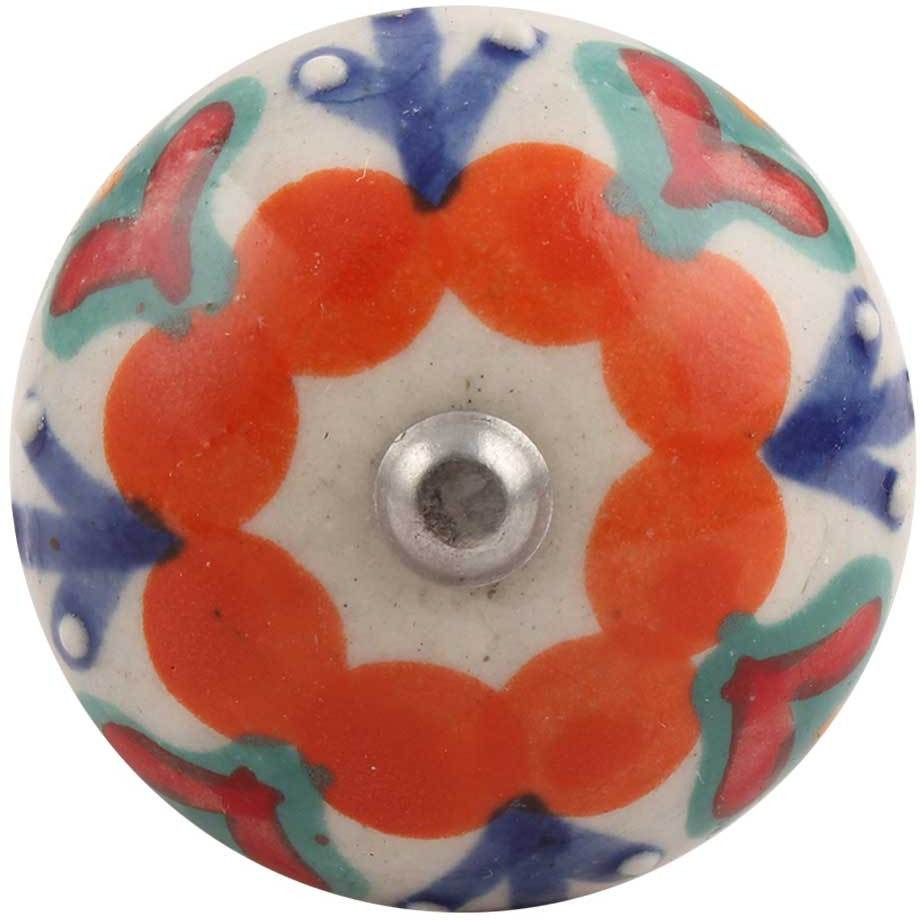 Indianshelf Handmade 10 Pieces Orange Flower Ceramic Floral Wine Cap Stopper Bottle Sealer Rubber Metal Cover Indian Online (Piece: 10, Color: Multicolor, Material: Ceramic)