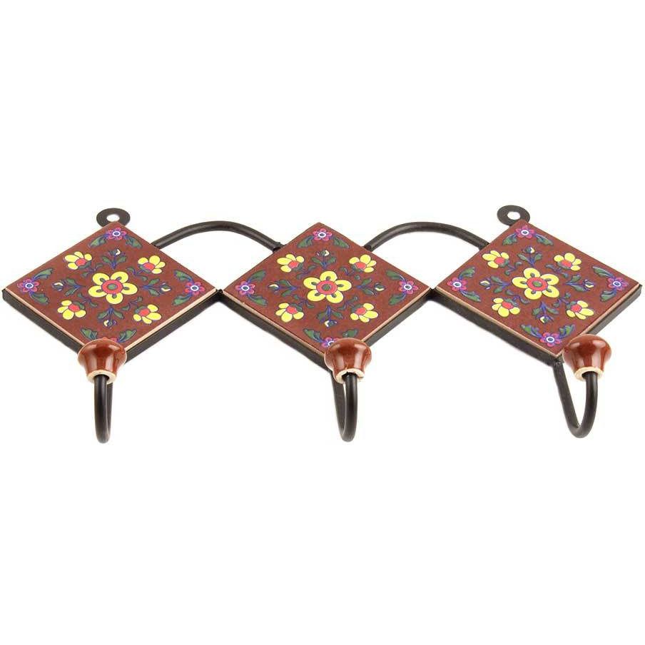 IndianShelf Handmade Brown Yellow Floral Tiles Ceramic Wall Hooks Cloth Coats Hangers Key Accessories Holders Online