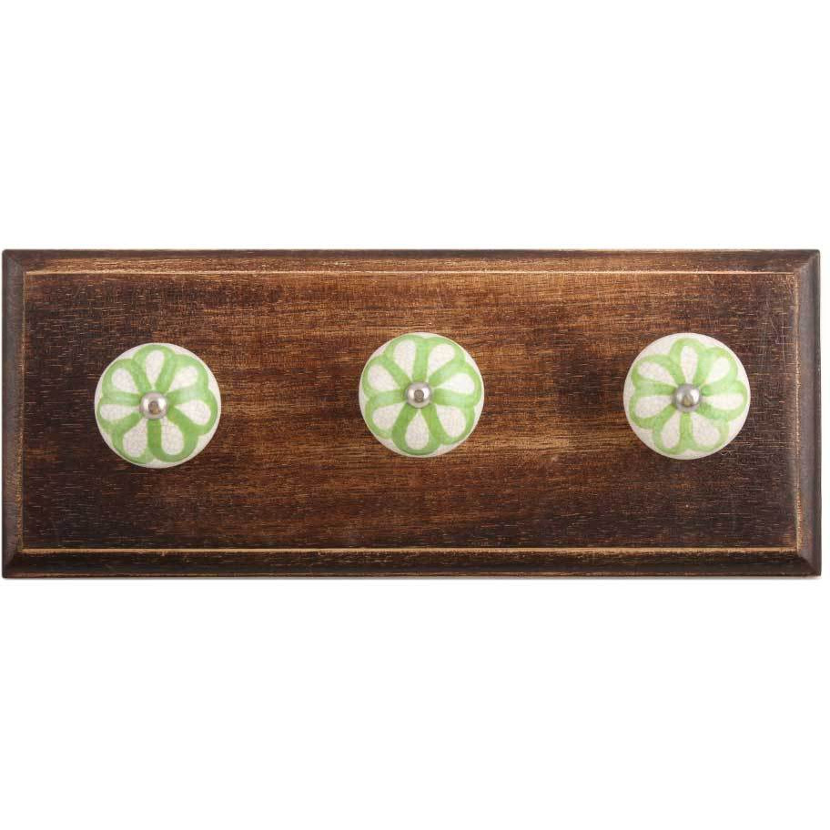 IndianShelf Handmade Lime Green Floral Crackle Wooden Wall Hooks Cloth Coats Hangers Key Accessories Holders Online
