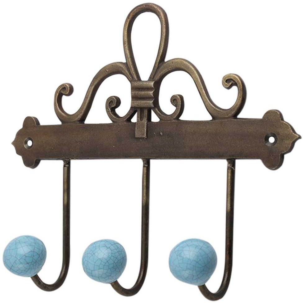 IndianShelf Handmade 3 Piece Turquoise Crackle Ceramic Wall Hooks Cloth Coats Hangers Key Accessories Holders Online