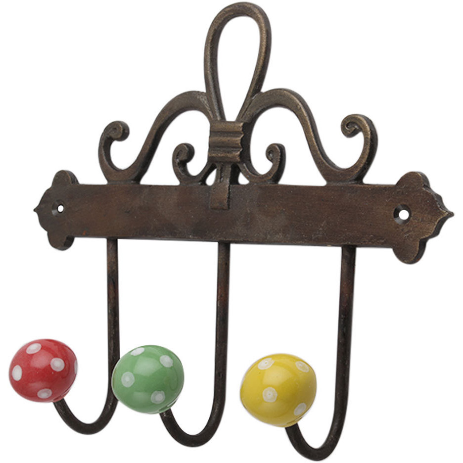 Multi Dot Ceramic Iron Wall Hook Hanger Key Holder Hat Clothes Hanging