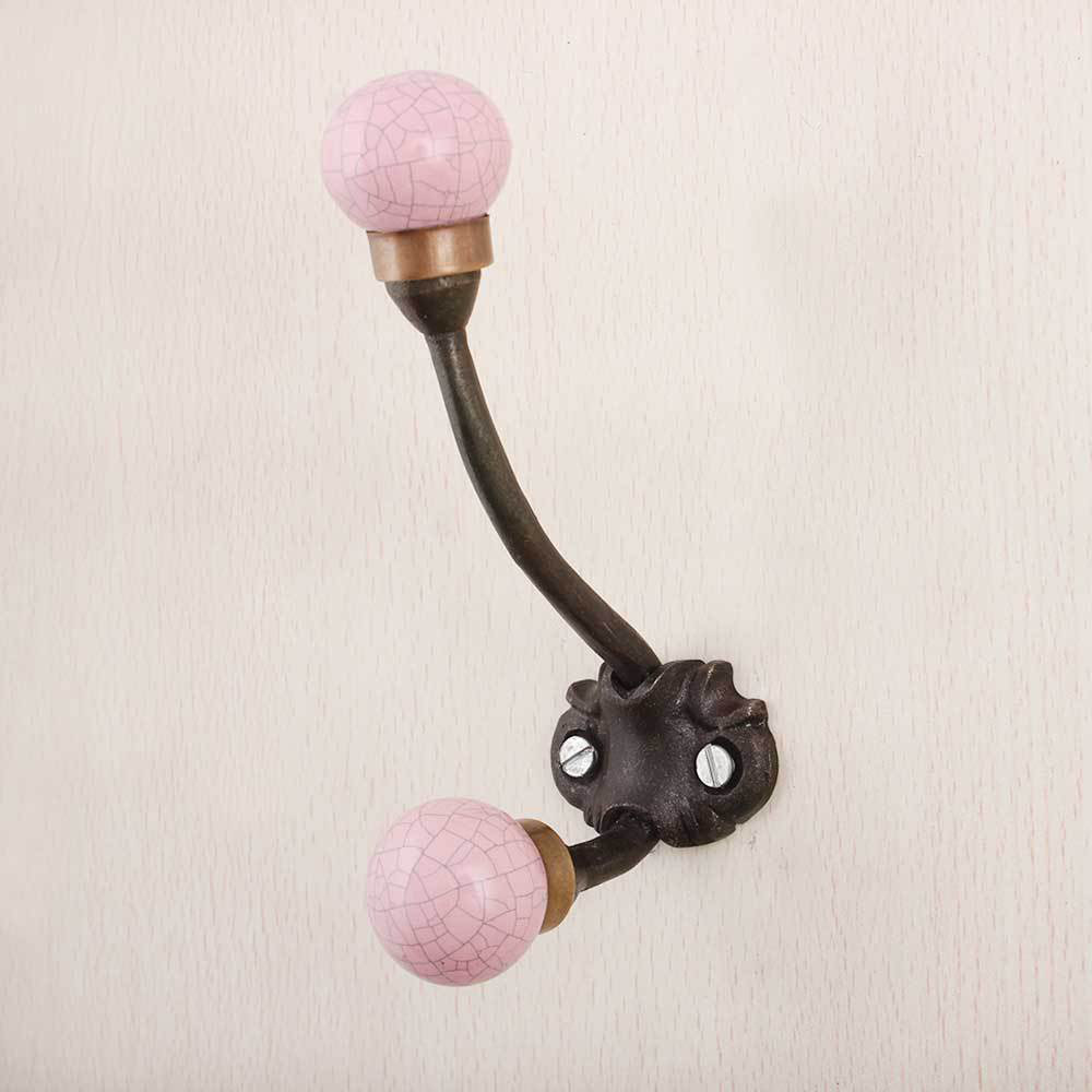 Pink Crackle Iron Wall Hook Hanger Key Holder Hat Clothes Hanging