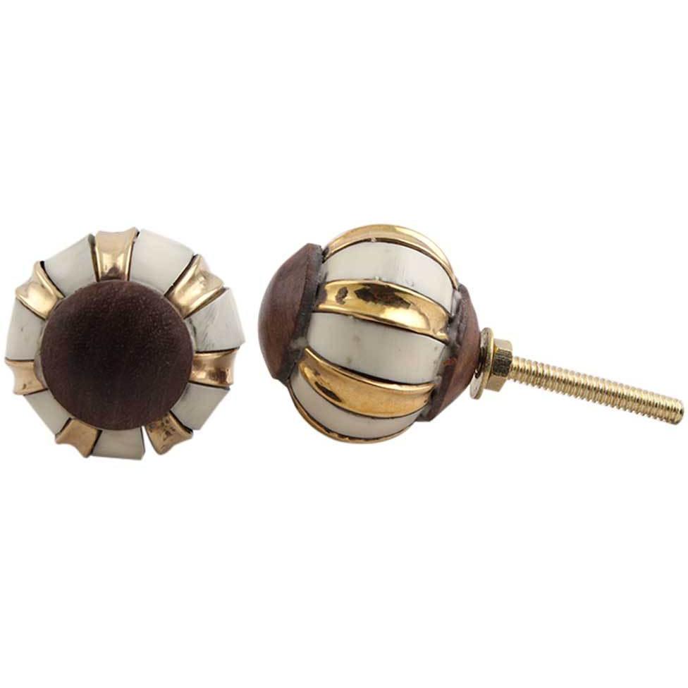 IndianShelf Handmade Bone Golden Floral Artistic Designer Drawer Knobs/Cabinet  Pulls