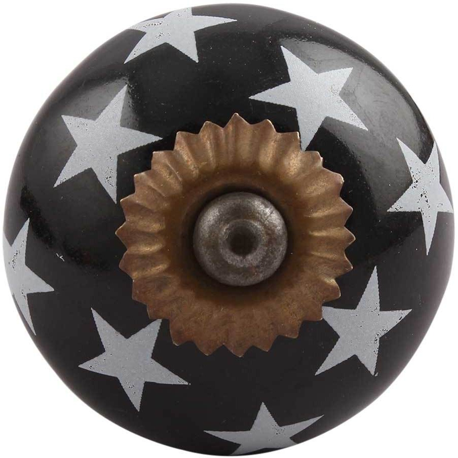 IndianShelf Handmade 2 Piece Ceramic Black Star Decorative Dresser Knobs/Cabinet Pulls