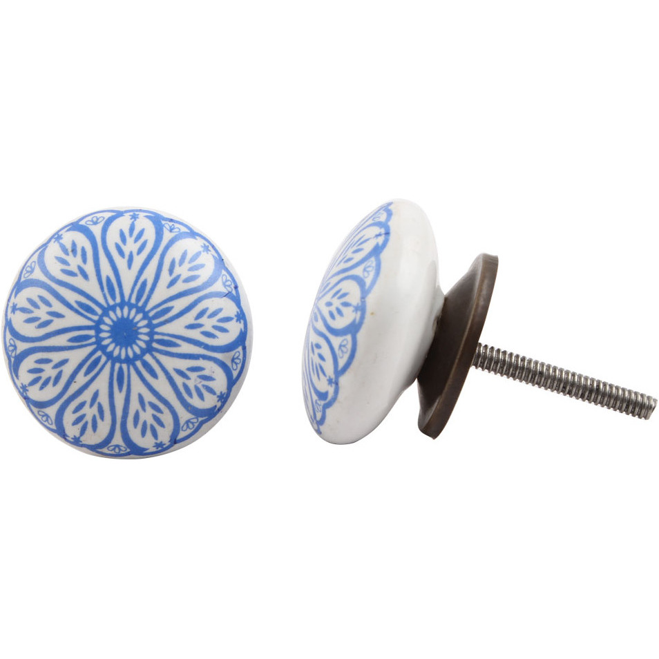 IndianShelf Handmade 2 Piece Ceramic Blue Daisy Flat Decorative Dresser Knobs/Cabinet Pulls