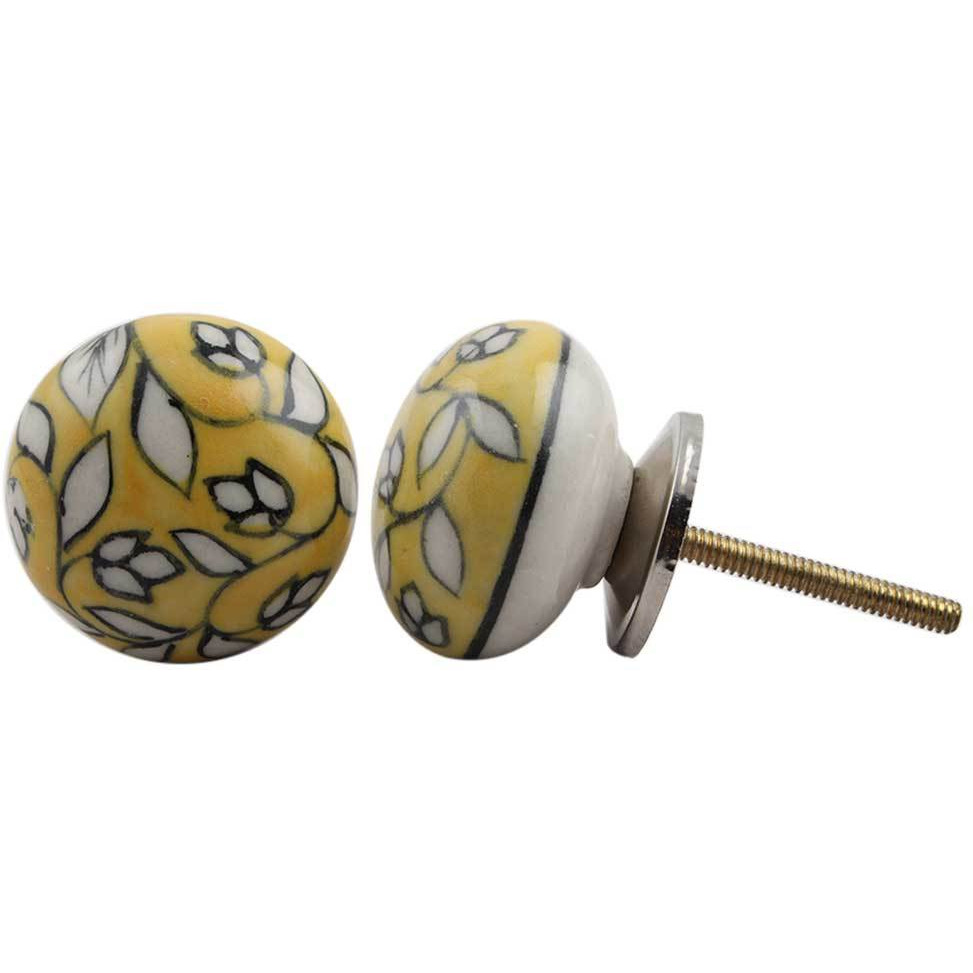 IndianShelf Handmade 2 Piece Ceramic Yellow Flat Artistic Designer Drawer Knobs/Cabinet Pulls