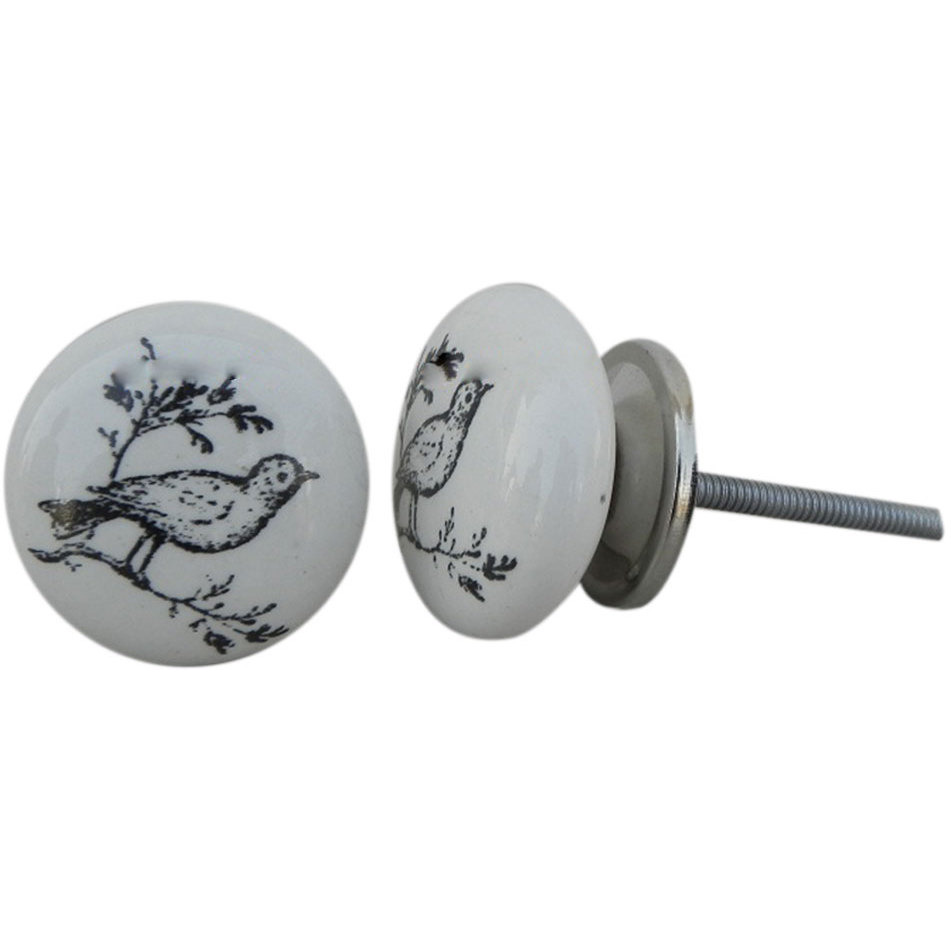 IndianShelf Handmade 2 Piece Ceramic Black Bird Fauna Artistic Designer Drawer Knobs/Cabinet Pulls