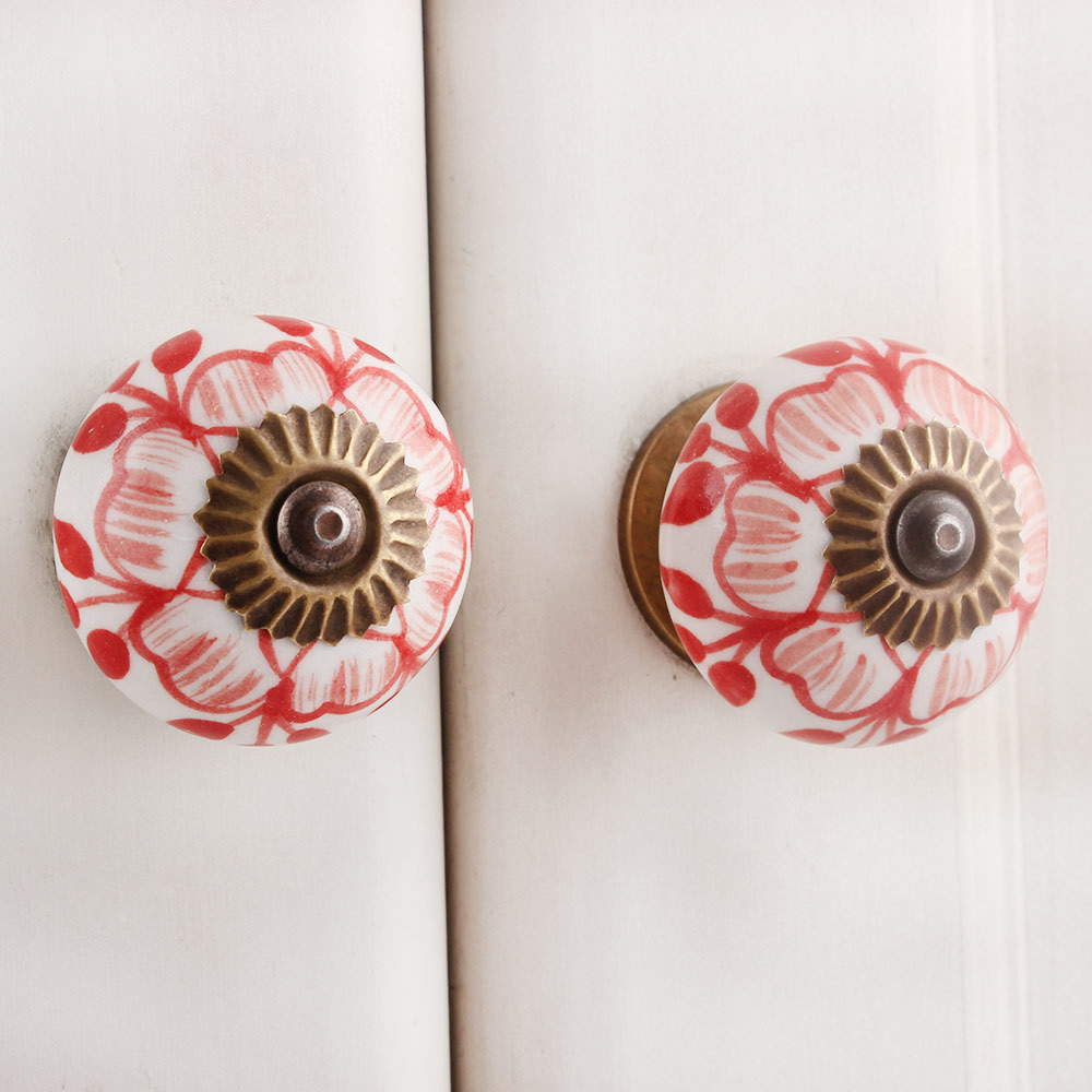 IndianShelf Handmade 2 Piece Ceramic Red Buttercup Artistic Designer Drawer Knobs/Cabinet Pulls