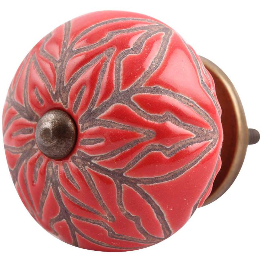 IndianShelf Handmade 4 Piece Ceramic Red Amarylis Floral Etched Artistic Drawer Knobs/Cabinet Pulls