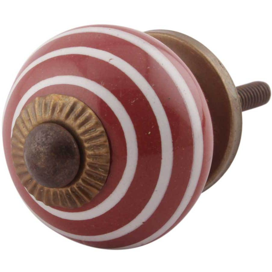 IndianShelf Handmade 6 Piece Ceramic Cherry Stripe Decorative Dresser Knobs/Cabinet Pulls