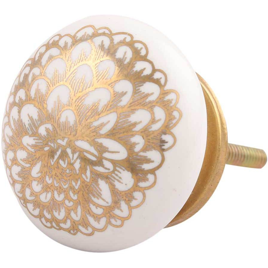 IndianShelf Handmade 6 Piece Ceramic Golden Carnation Flower Flat Vintage Furniture Knobs/Wardrobe Pulls