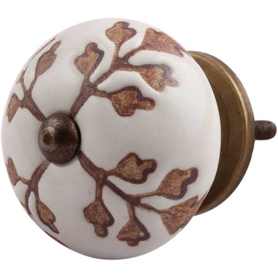 IndianShelf Handmade 6 Piece Ceramic Brown Leaf Cut Flower Etched Artistic Designer Drawer Knobs/Cabinet Pulls