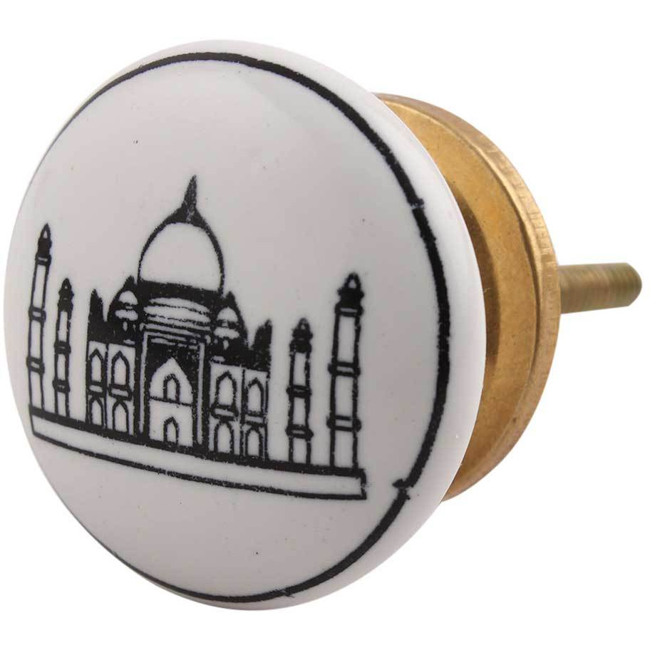 IndianShelf Handmade 6 Piece Ceramic Black Tajmahal Flat Vintage Furniture Knobs/Wardrobe Pulls