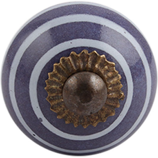 IndianShelf Handmade 6 Piece Ceramic Purple Stripe Decorative Dresser Knobs/Cabinet Pulls