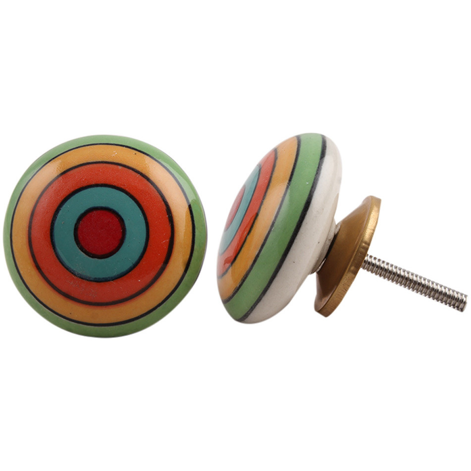 IndianShelf Handmade 6 Piece Ceramic Multicolor Stripe Flat Vintage Furniture Knobs/Wardrobe Pulls